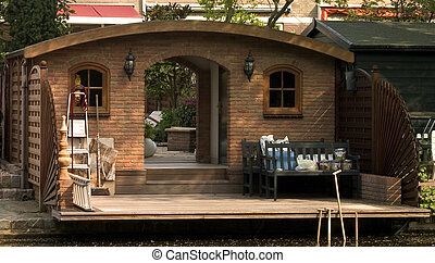 Garden shed - Large brick garden shed sitting along the edge...