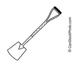 Garden shovel isolated on a white background. Shovel for earthworks. A tool for digging and replanting plants. Vector illustration in Doodle style