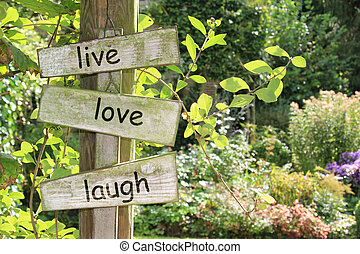 Summer garden wooden sign, live, love, laugh. Also available without text.