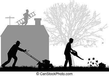 garden., silhuetas, limpeza, pessoas