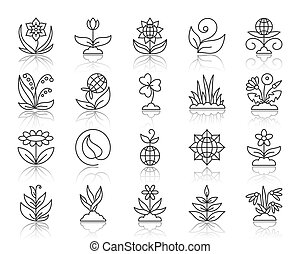 Garden simple black line icons vector set