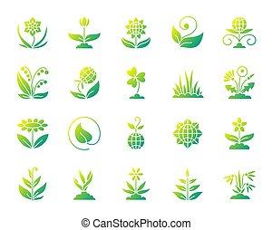 Garden simple gradient icons vector set