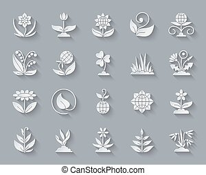 Garden simple paper cut icons vector set