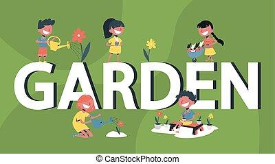 Garden single word banner concept. Children gardening set. Flower and plant growing. Cartoon vector illustration