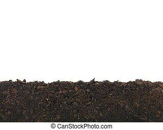 Garden Soil - Garden soil isolated against a white...
