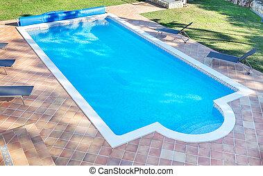 garden., sommar, rekreation, swimming., lov, slå samman