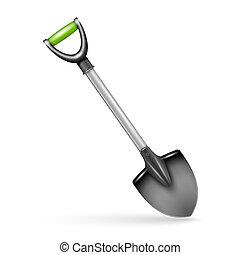 Garden spade, isolated on white background.