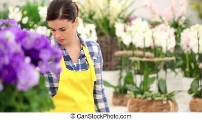 garden springtime concept, woman florist with basket of...