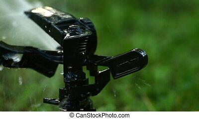 Garden sprinkler. Selective focus. High frame rate