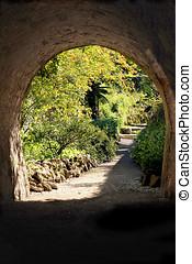 Garden - The secret garden - landscaping. Old stone bridge...