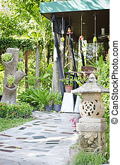 Garden stone nature and lamp