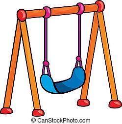 garden swing cartoon illustration