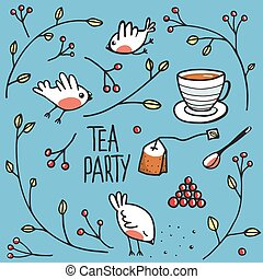 Garden Tea Party with Birds Twigs and Berries - Simple naive...