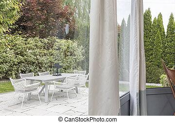 Garden terrace with furnitures
