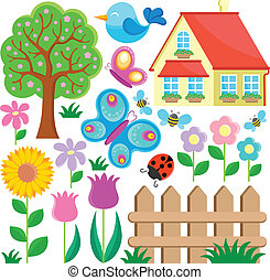 Garden theme collection 1 - vector illustration.