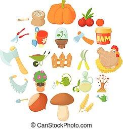 Garden tillage icons set, cartoon style - Garden tillage...