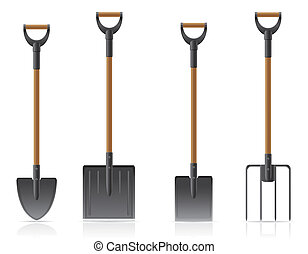 garden tool shovel and pitchfork illustration