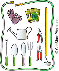 An assorted selection of common garden implements.