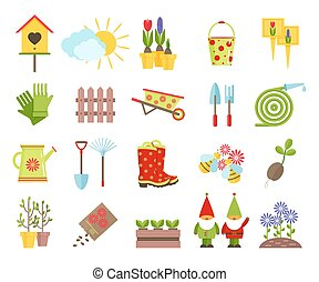 Garden tools and other elements of gardening flat icons set