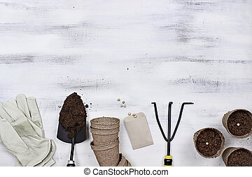 Garden Tools and Planting Seeds Background
