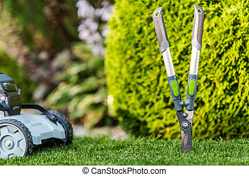 Garden Tools and Summer Backyard Maintenance Theme