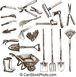Garden tools - Collection of hand drawn graphic garden tools