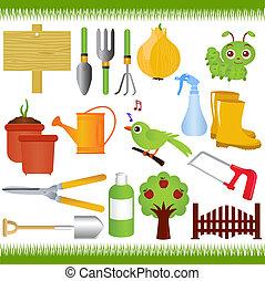 Garden tools / equipments - Vector Icons : Gardening, and...