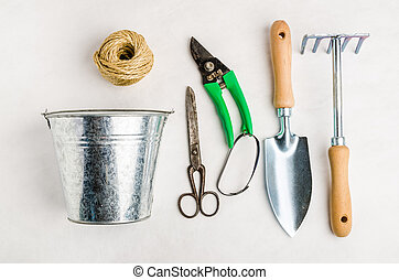 Garden tools for planting, on white background