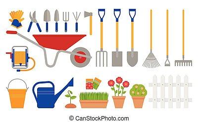 Garden tools. Gardening collection. Vector flat illustration.