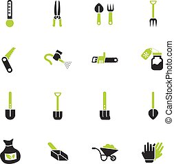 garden tools icon set - garden tools web icons for user ...