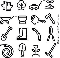 garden tools icons - illustration of garden tools and ...