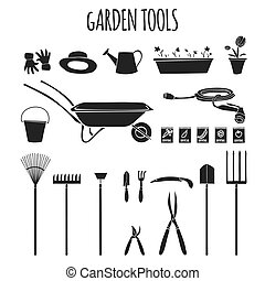 Garden tools icons set