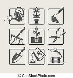 Garden tools. Icons set