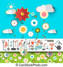 Garden Tools Icons. Vector Flowers Design on Blue Sky with Clouds and Green Grass.
