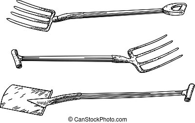 Garden tools - Three different gardner tools isolated on...