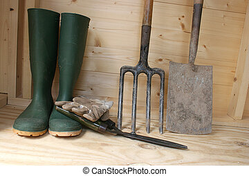 Garden tools in a shed