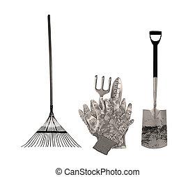 Garden tools in sepia color