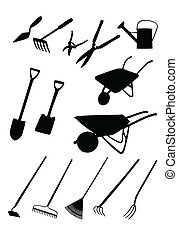 Isolated silhouettes of various tools for gardening and landscaping. Colors can be edited easily.