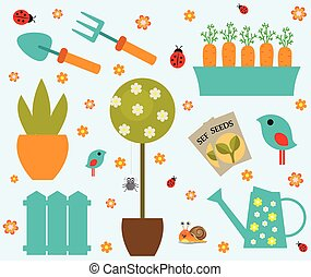 Garden tools set icons  stock vector