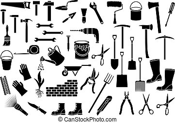 garden tools thin line icons set (ax, pick, hammer, shovel, rake, scissors, nail, wrench, paint roller, shears, wheelbarrow, hammer, nail, trowel, watering can, brick wall)