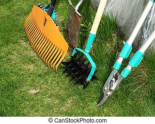 Garden tools - Various garden tools: shears, rake,aerator...