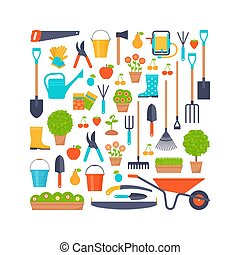 Garden tools. Vector flat illustration. Gardening icons stylized in square shape.