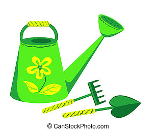 Garden tools. Watering can, rake and shovel. Isolated on the...