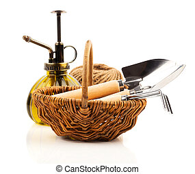Garden tools with seedlings vegetable, on a white background