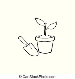 Garden trowel and pot hand drawn sketch icon.