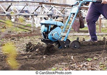garden., uitrusting, earth., ploegen