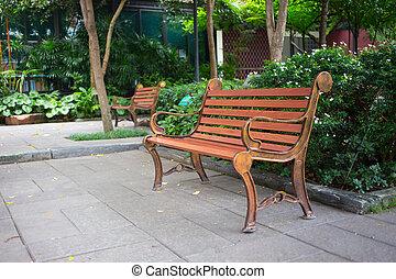 garden., vendemmia, stile, legno, panca