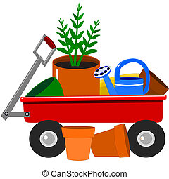 Garden wagon with plants - Illustration of a little red...