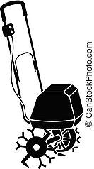 Garden walk tractor icon, simple style - Garden walk tractor...