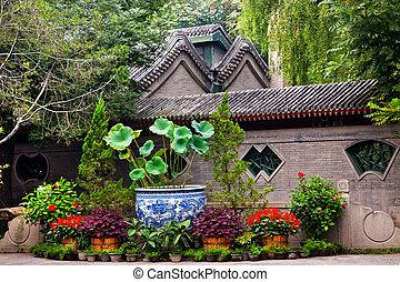 Garden Walls Porcelain Pot Former Residence of Soong Ching-Ling, Wife of Sun Yat-Sen, Beijing China.